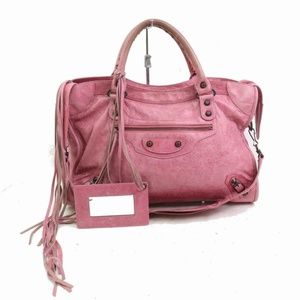 Balenciaga City 870901 Pink Leather Shoulder Bag
